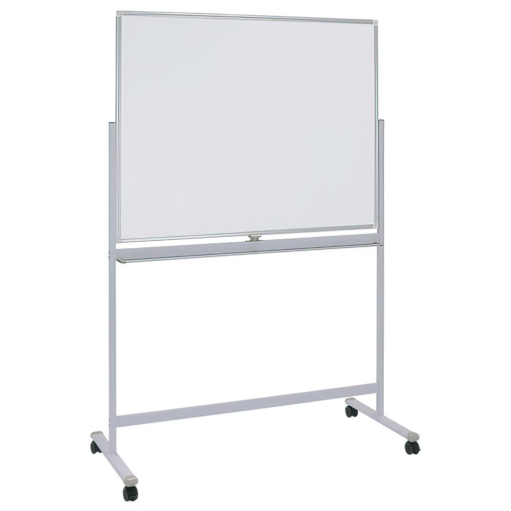 両面脚付きホーロー板面ホワイトボード 無地 W1200×H905mm 白板 ホワイトボード 脚付 両面 琺瑯 イレーザー付き オフィス家具