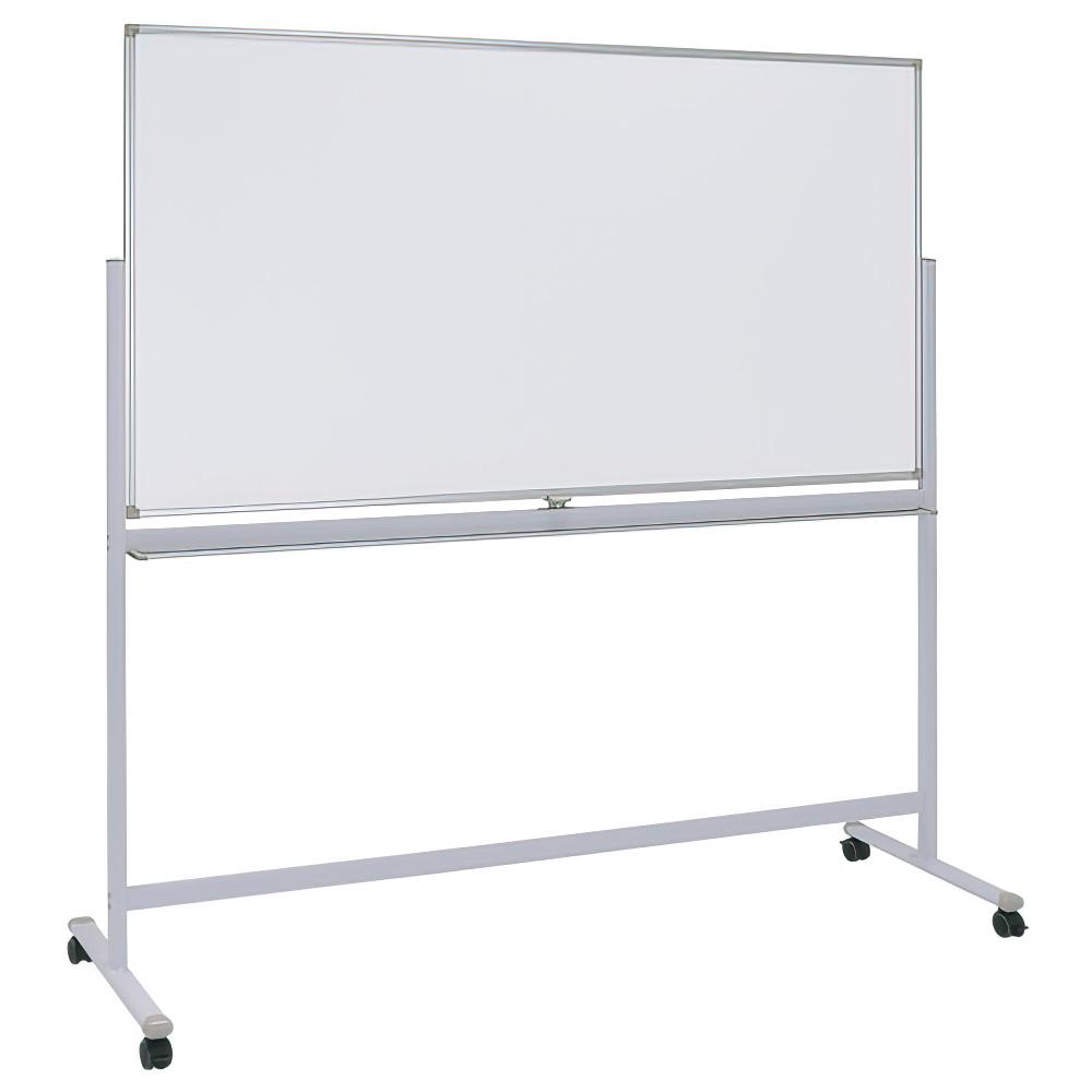 両面脚付きホワイトボード 両面無地 W1800×H900mm 白板 ホワイトボード 脚付 両面 無地 マーカー付き オフィス家具