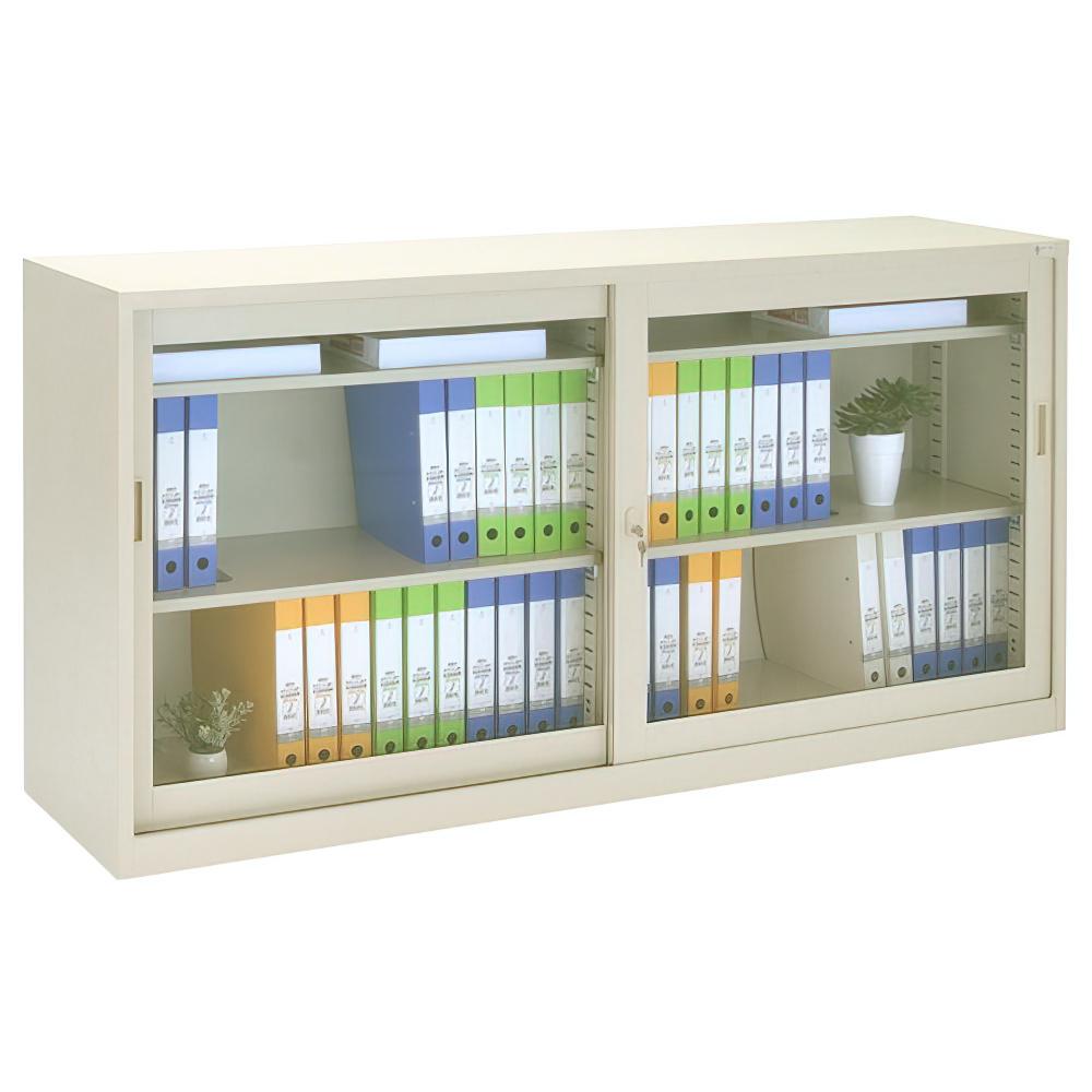 ガラス63タイプ 引違い書庫 W1760×D400×H880mm スチール書庫 書棚 オフィス収納 キャビネット オフィス家具