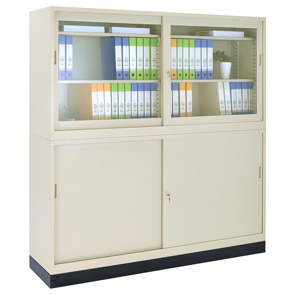 ガラス63引違い×スチール63引違い書庫セット W1760×D400×H1850mm スチール書庫 書棚 オフィス収納 キャビネット オフィス家具