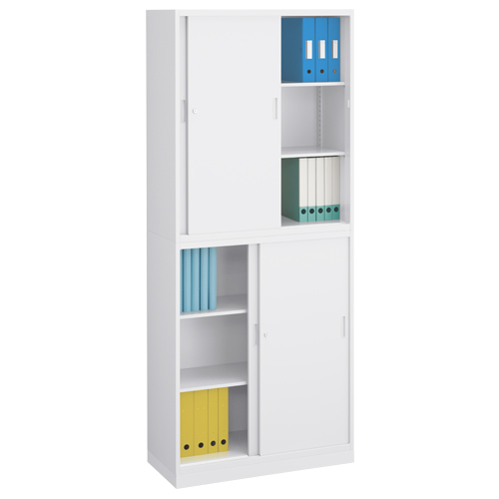 オフィス用スチール引違い スチール引違い書庫セット W900 D400 H2160  ホワイト