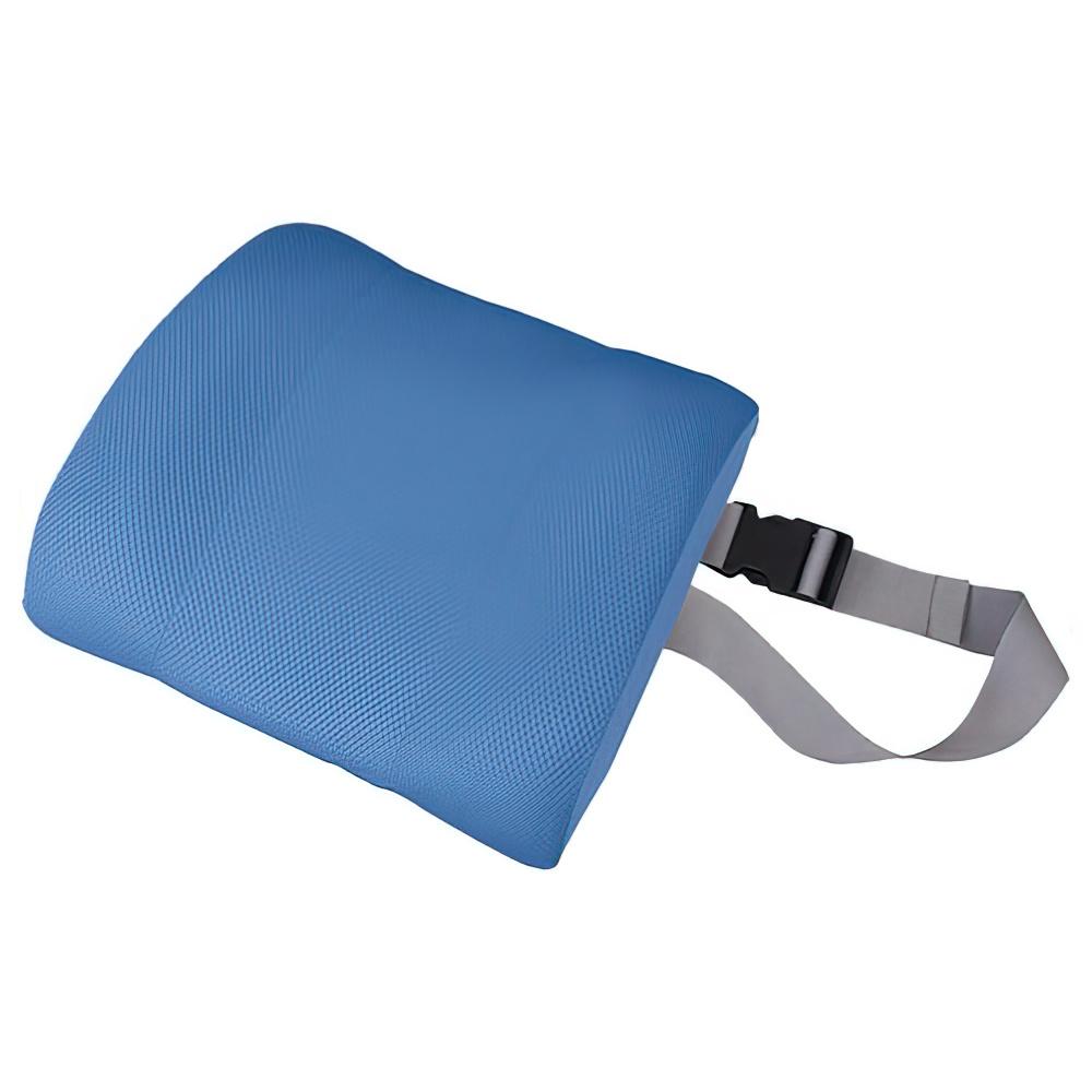 チェアクッションC W340×D90×H290mm ブルー チェアアクセサリー チェア周辺備品 メッシュ素材 固定ベルト付き 疲労緩和 オフィス家具