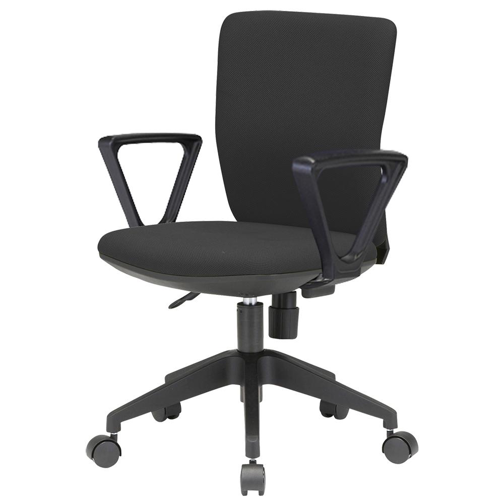 オフィス用ビジネスチェアFST55 ファブリック W395 D525 H780-860  ブラック