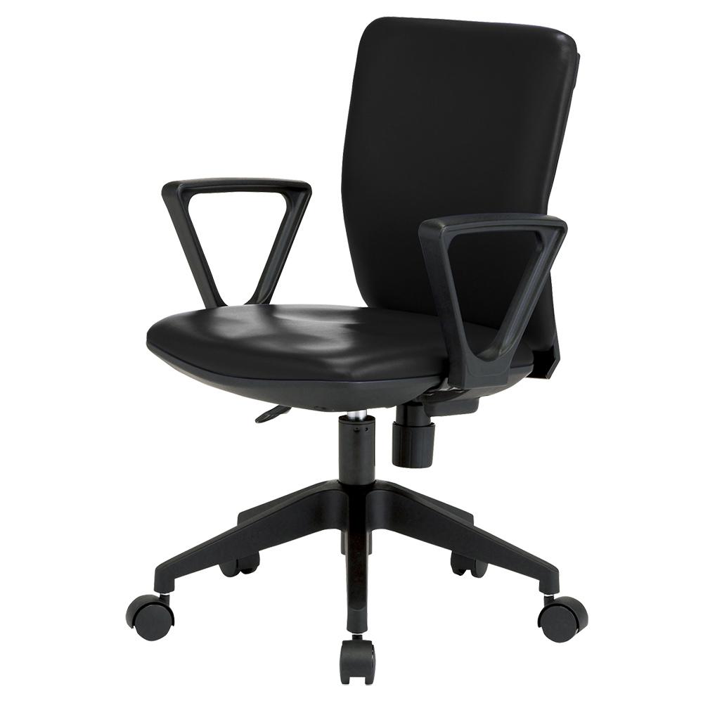 オフィス用ビジネスチェアFST55 ビニールレザー W395 D525 H780-860  ブラック