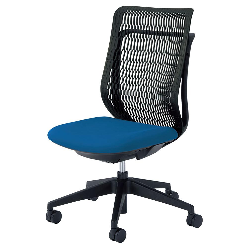 エージェイチェア W670×D605×H965-1065mm オフィスチェア 事務椅子 肘無し ブルー デスクチェア OAチェア 内田洋行 オフィス家具