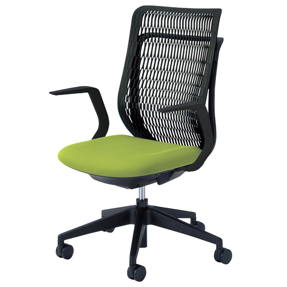 エージェイチェア W670×D605×H965-1065mm オフィスチェア 事務椅子 肘付き グリーン デスクチェア OAチェア 内田洋行 オフィス家具