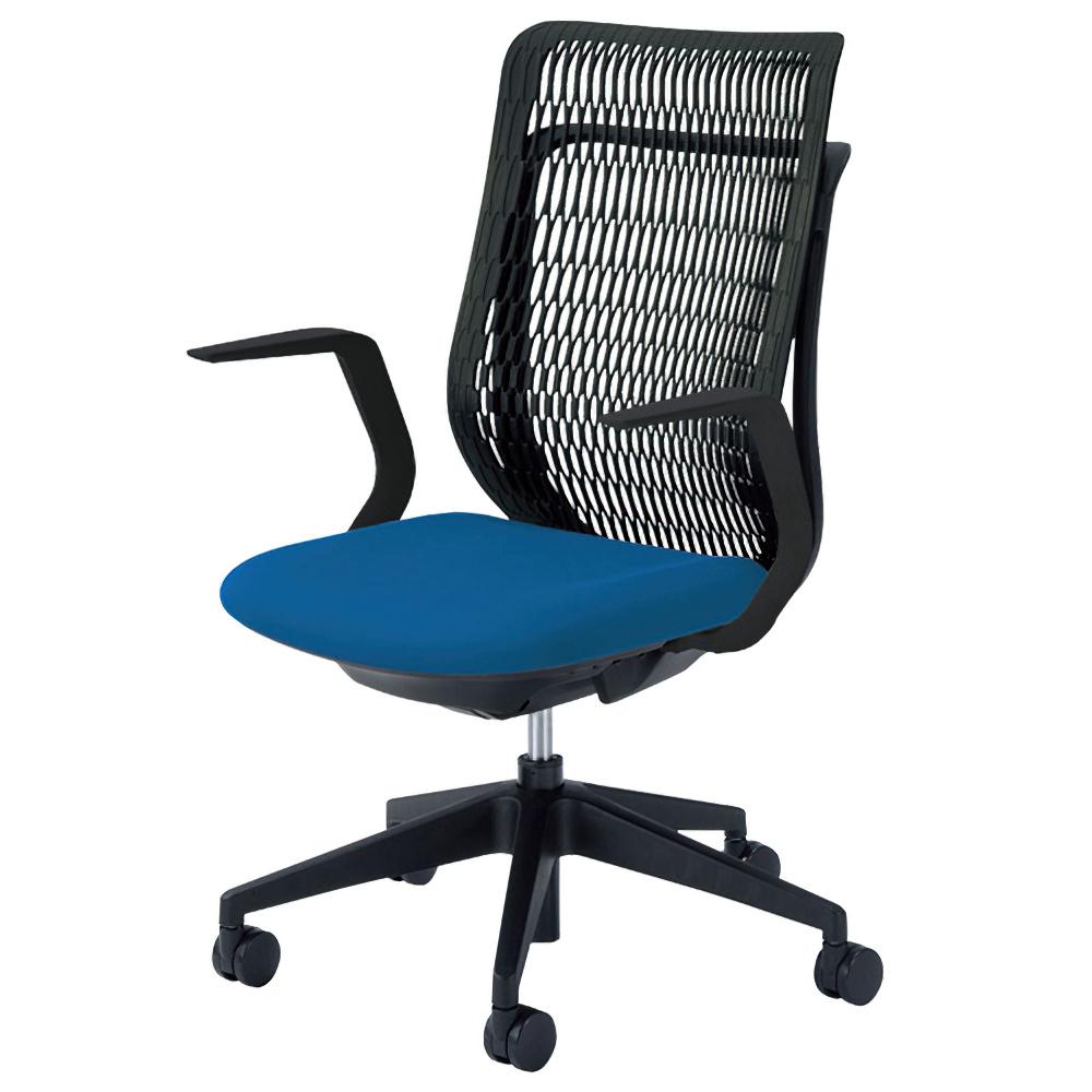 エージェイチェア W670×D605×H965-1065mm オフィスチェア 事務椅子 肘付き ブルー デスクチェア OAチェア 内田洋行 オフィス家具
