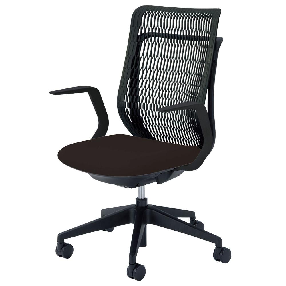 エージェイチェア W670×D605×H965-1065mm オフィスチェア 事務椅子 肘付き ブラック デスクチェア OAチェア 内田洋行 オフィス家具