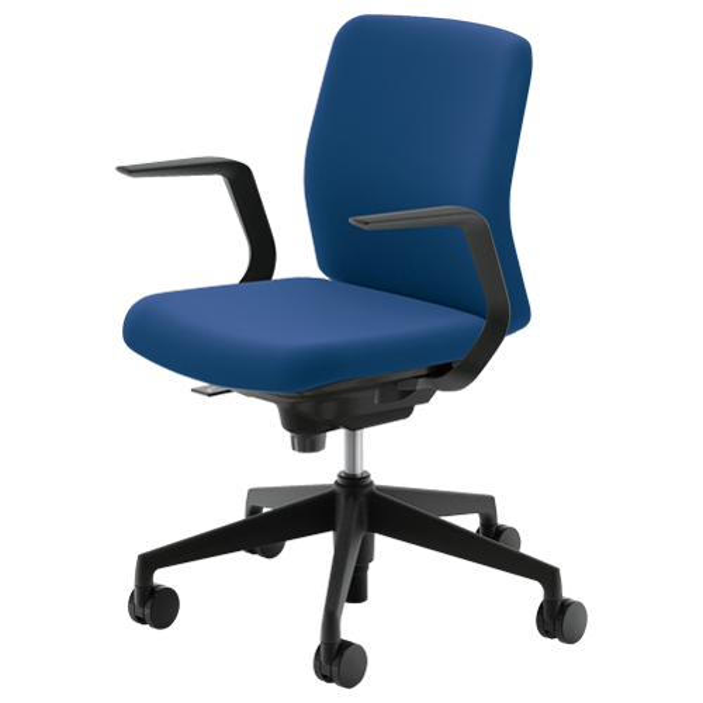 カリッサチェア クロスタイプ W647×D540×H823-913mm オフィスチェア 事務椅子 肘付き ブルー デスクチェア OAチェア 内田洋行 オフィス家具