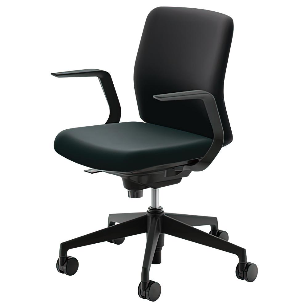 カリッサチェア クロスタイプ W647×D540×H823-913mm オフィスチェア 事務椅子 肘付き ブラック デスクチェア OAチェア 内田洋行 オフィス家具
