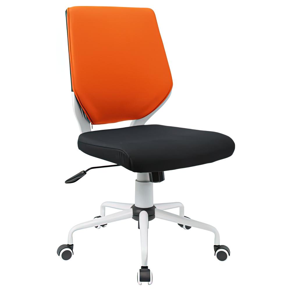 チェンジ W495×D480×H900-975mm 背面カバー着脱 オフィスチェア 事務椅子 肘無し ホワイト オレンジカバー デスクチェア OAチェア オフィス家具