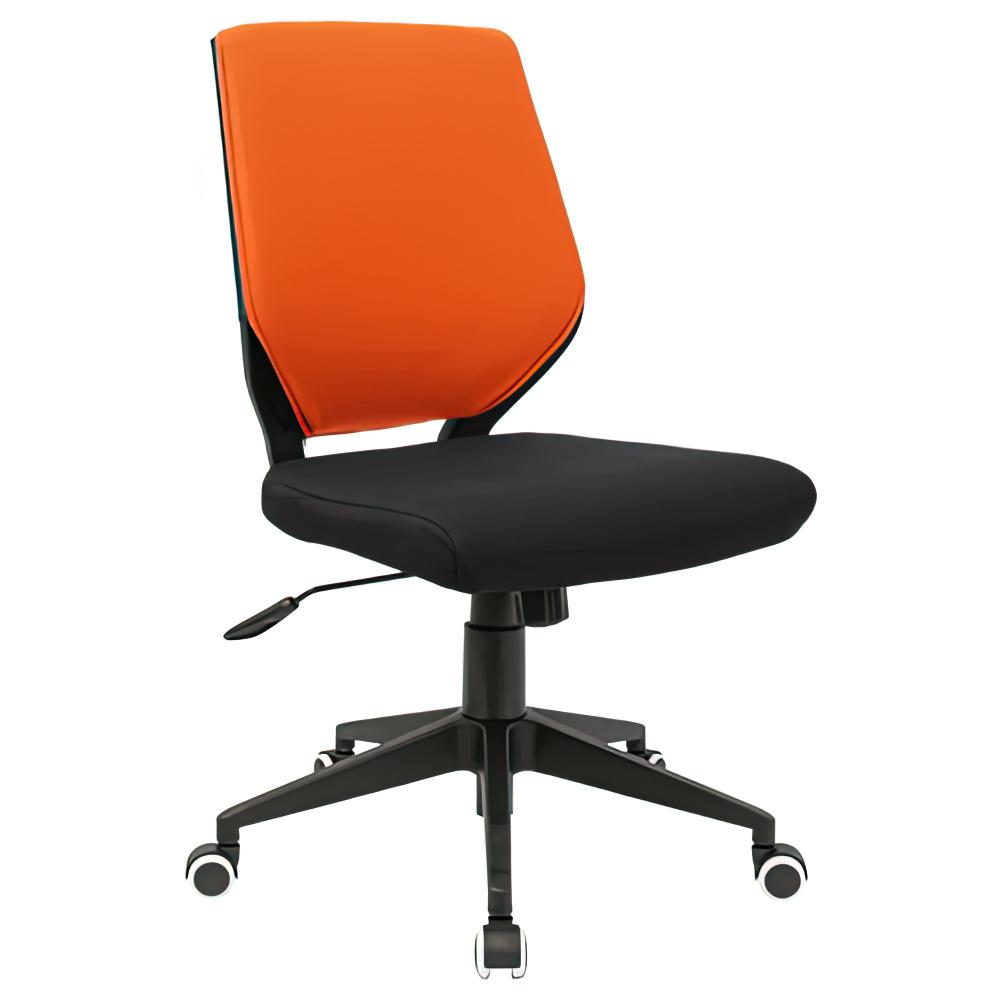 チェンジ W495×D480×H900-975mm 背面カバー着脱 オフィスチェア 事務椅子 肘無し ブラック オレンジカバー デスクチェア OAチェア オフィス家具