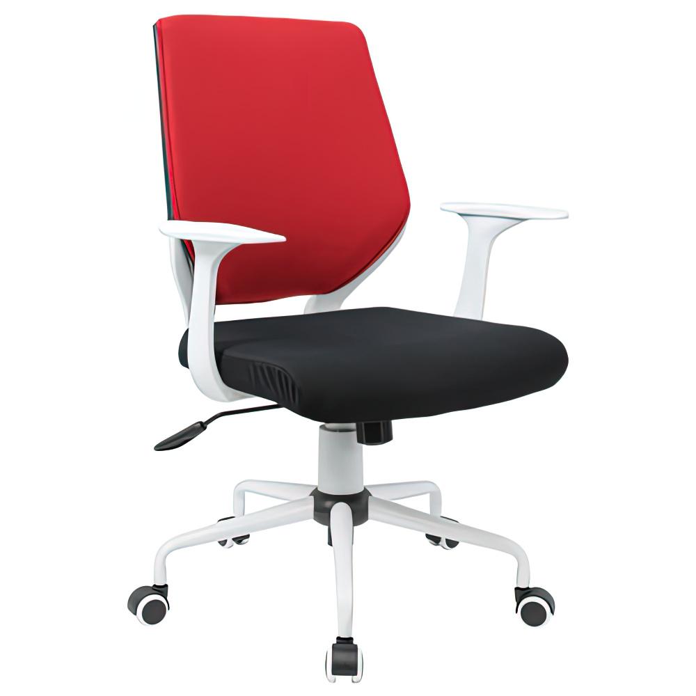 チェンジ W495×D480×H900-975mm 背面カバー着脱 オフィスチェア 事務椅子 肘付き ホワイト レッドカバー デスクチェア OAチェア オフィス家具