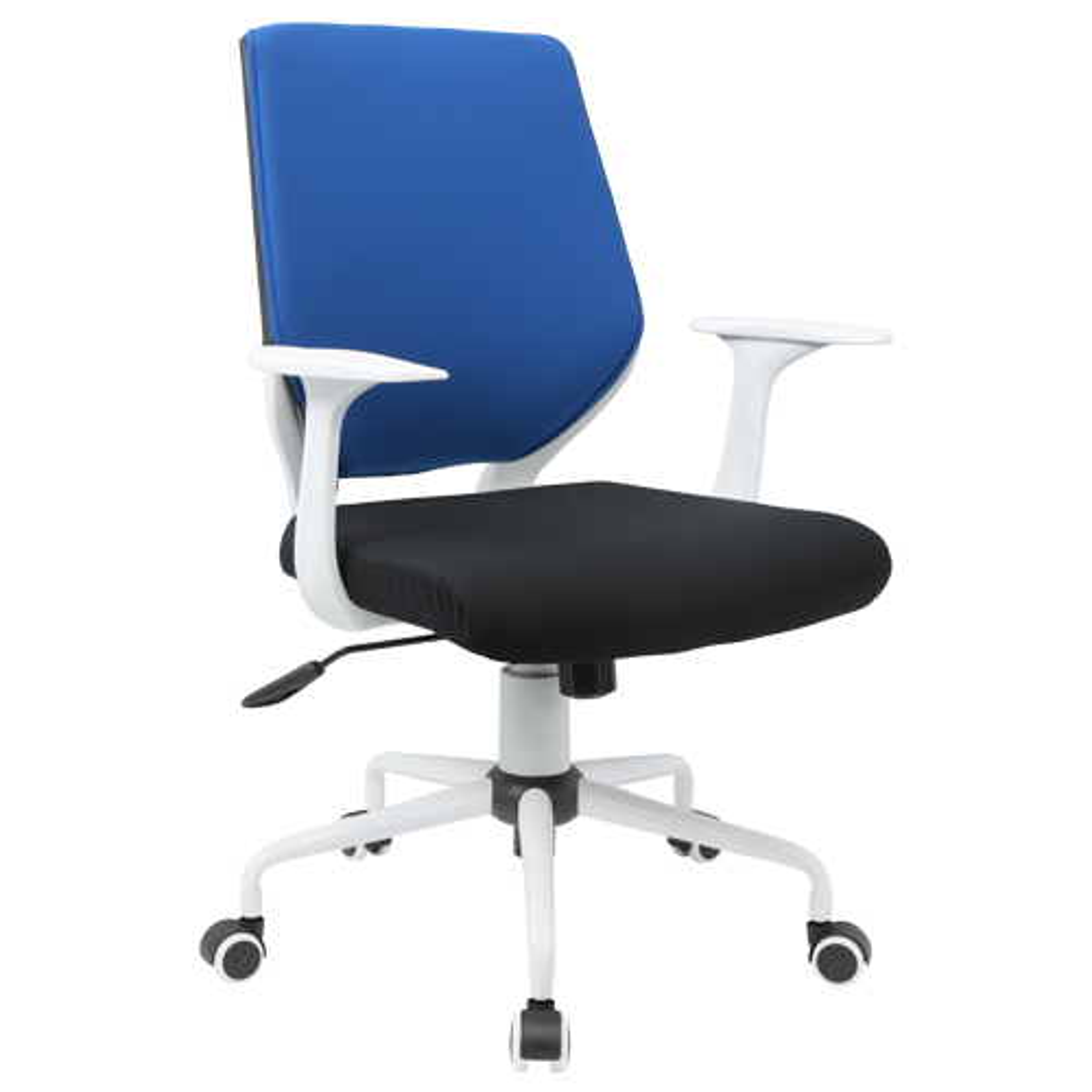 チェンジ W495×D480×H900-975mm 背面カバー着脱 オフィスチェア 事務椅子 肘付き ホワイト ブルーカバー デスクチェア OAチェア オフィス家具
