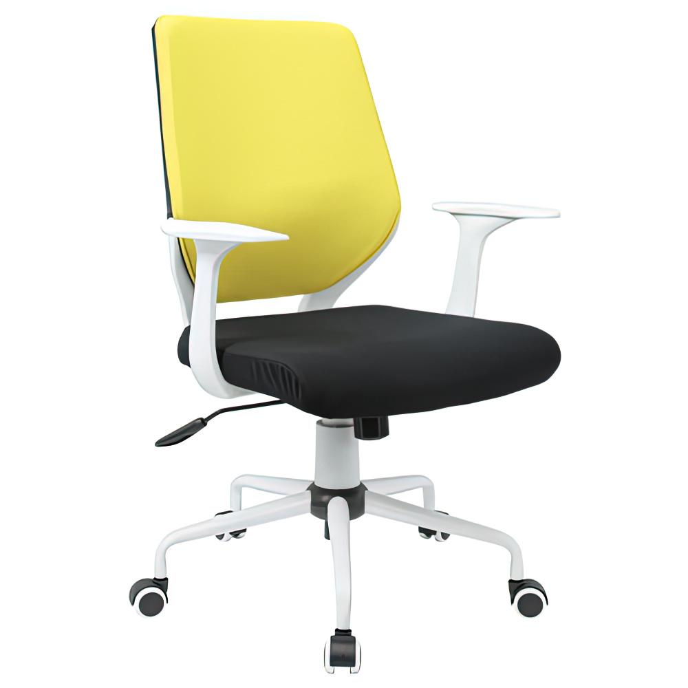チェンジ W495×D480×H900-975mm 背面カバー着脱 オフィスチェア 事務椅子 肘付き ホワイト イエローカバー デスクチェア OAチェア オフィス家具