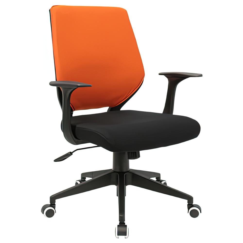 チェンジ W495×D480×H900-975mm 背面カバー着脱 オフィスチェア 事務椅子 肘付き ブラック オレンジカバー デスクチェア OAチェア オフィス家具
