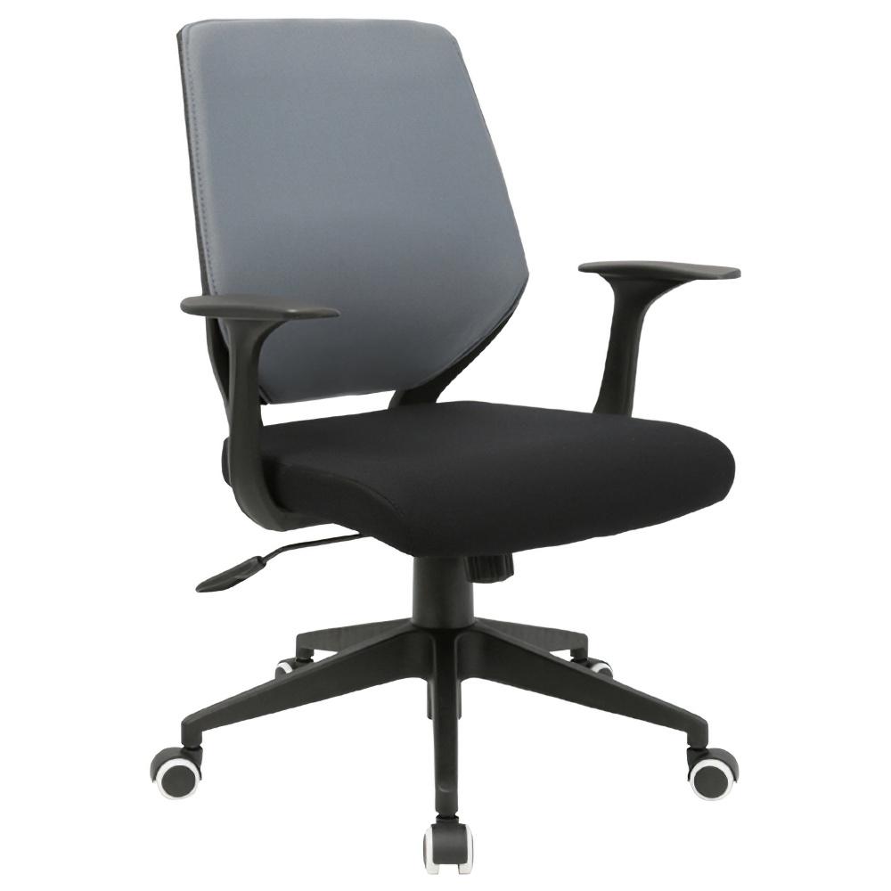 チェンジ W495×D480×H900-975mm 背面カバー着脱 オフィスチェア 事務椅子 肘付き ブラック グレーカバー デスクチェア OAチェア オフィス家具