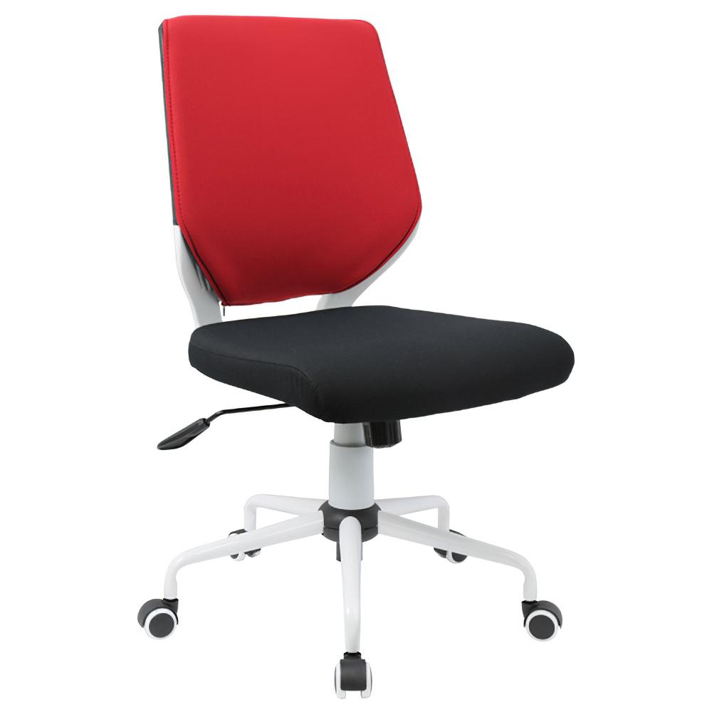 チェンジ W495×D480×H900-975mm 背面カバー着脱 オフィスチェア 事務椅子 肘無し ホワイト レッドカバー デスクチェア OAチェア オフィス家具