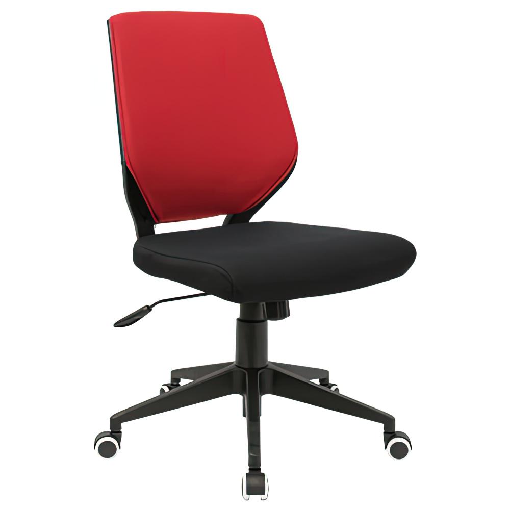 チェンジ W495×D480×H900-975mm 背面カバー着脱 オフィスチェア 事務椅子 肘無し ブラック レッドカバー デスクチェア OAチェア オフィス家具