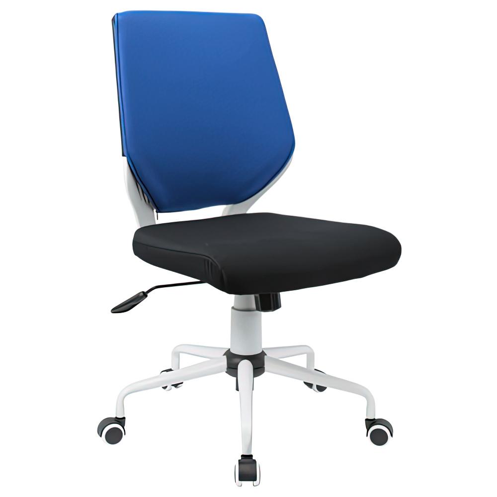 チェンジ W495×D480×H900-975mm 背面カバー着脱 オフィスチェア 事務椅子 肘無し ホワイト ブルーカバー デスクチェア OAチェア オフィス家具