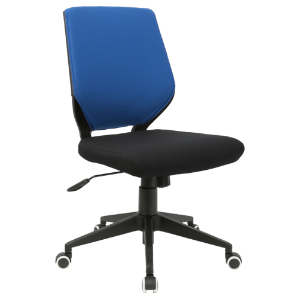 チェンジ W495×D480×H900-975mm 背面カバー着脱 オフィスチェア 事務椅子 肘無し ブラック ブルーカバー デスクチェア OAチェア オフィス家具