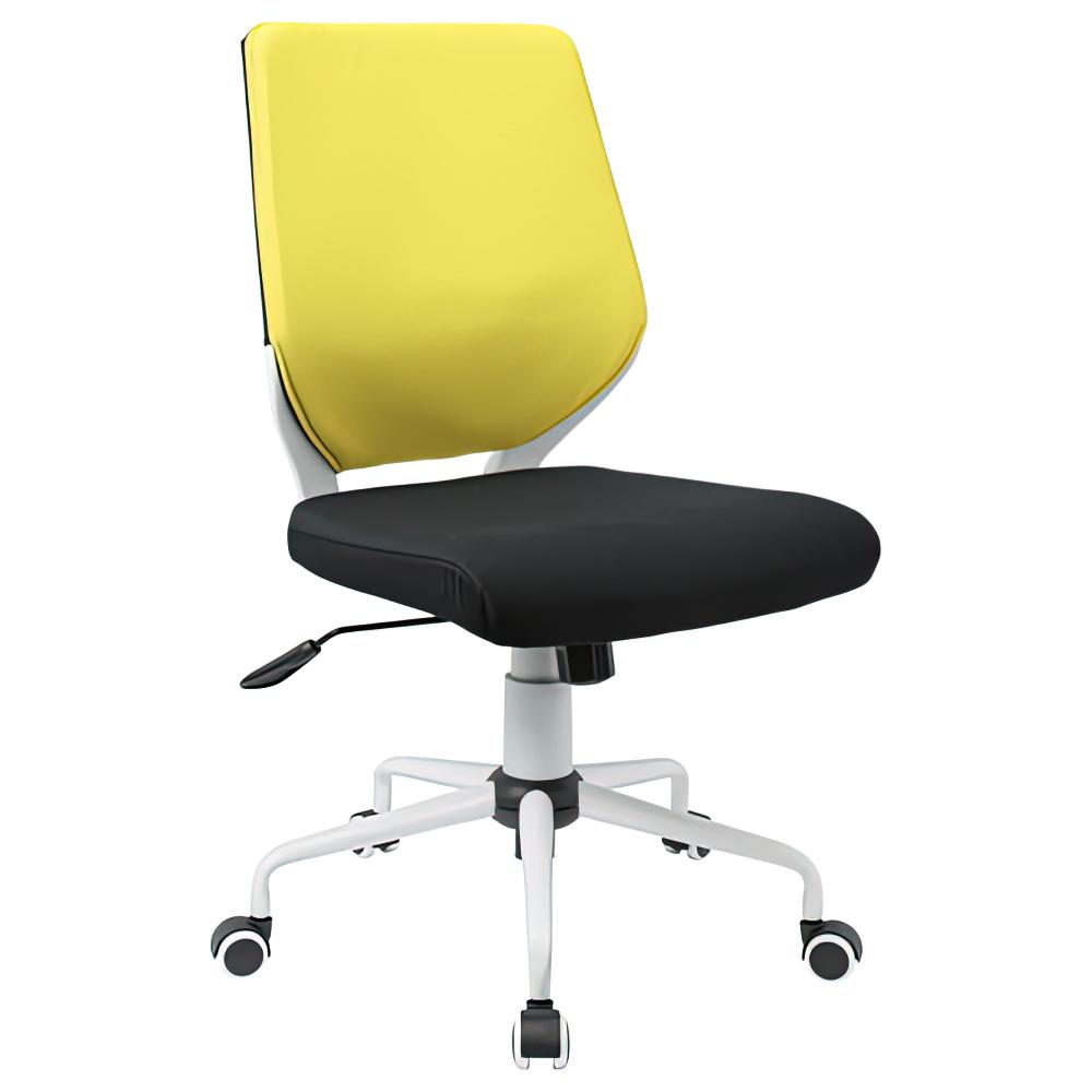 チェンジ W495×D480×H900-975mm 背面カバー着脱 オフィスチェア 事務椅子 肘無し ホワイト イエローカバー デスクチェア OAチェア オフィス家具