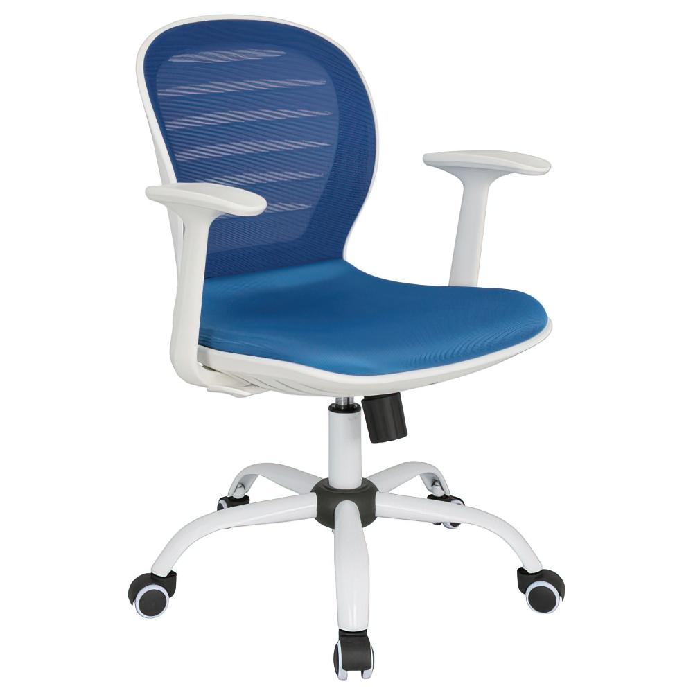 シフォン W610×D585×H850-950mm 背:ブルー×座:ブルー 肘付き メッシュチェア オフィスチェア 事務椅子 オフィス家具