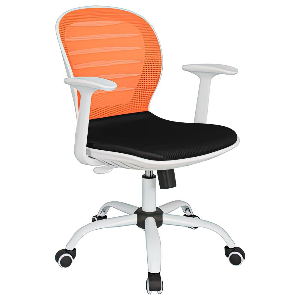 シフォン W610×D585×H850-950mm 背:オレンジ×座:ブラック 肘付きメッシュチェア オフィスチェア 事務椅子 オフィス家具