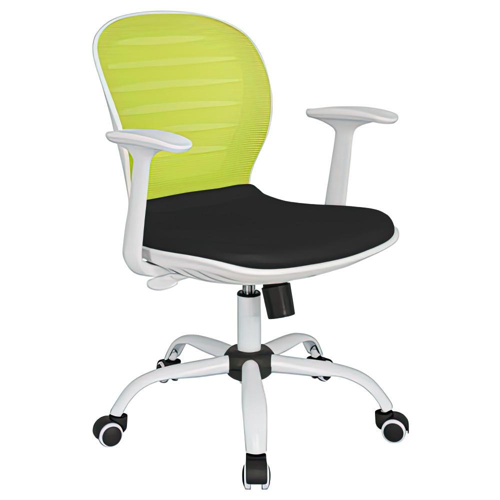 シフォン W610×D585×H850-950mm 背:グリーン×座:ブラック 肘付き メッシュチェア オフィスチェア 事務椅子 オフィス家具
