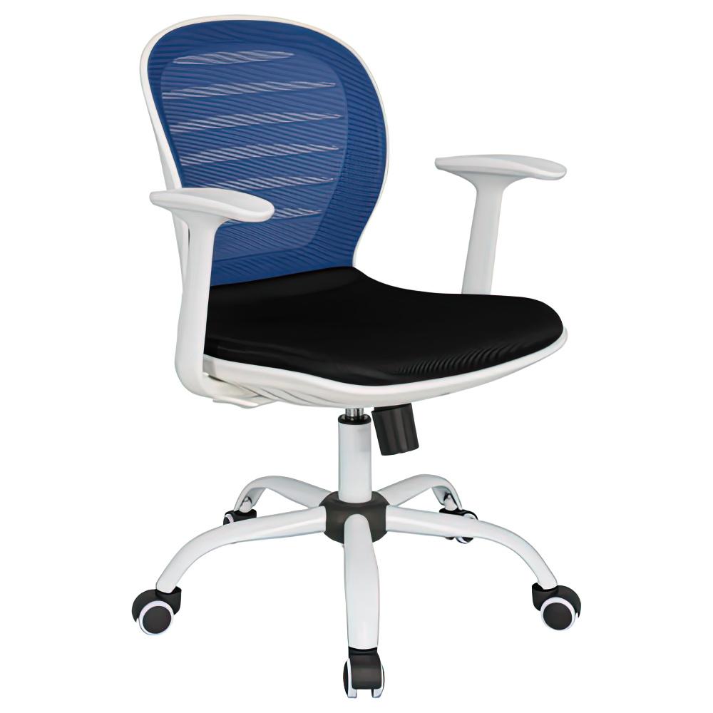 シフォン W610×D585×H850-950mm 背:ブルー×座:ブラック 肘付き メッシュチェア オフィスチェア 事務椅子 オフィス家具