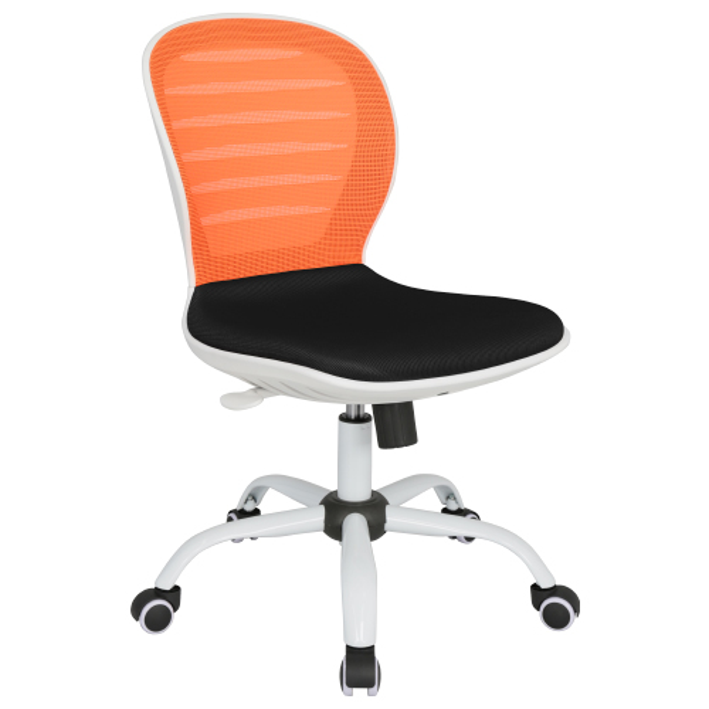 シフォン W480×D585×H850-950mm 背:オレンジ×座:ブラック 肘無し メッシュチェア オフィスチェア 事務椅子 オフィス家具