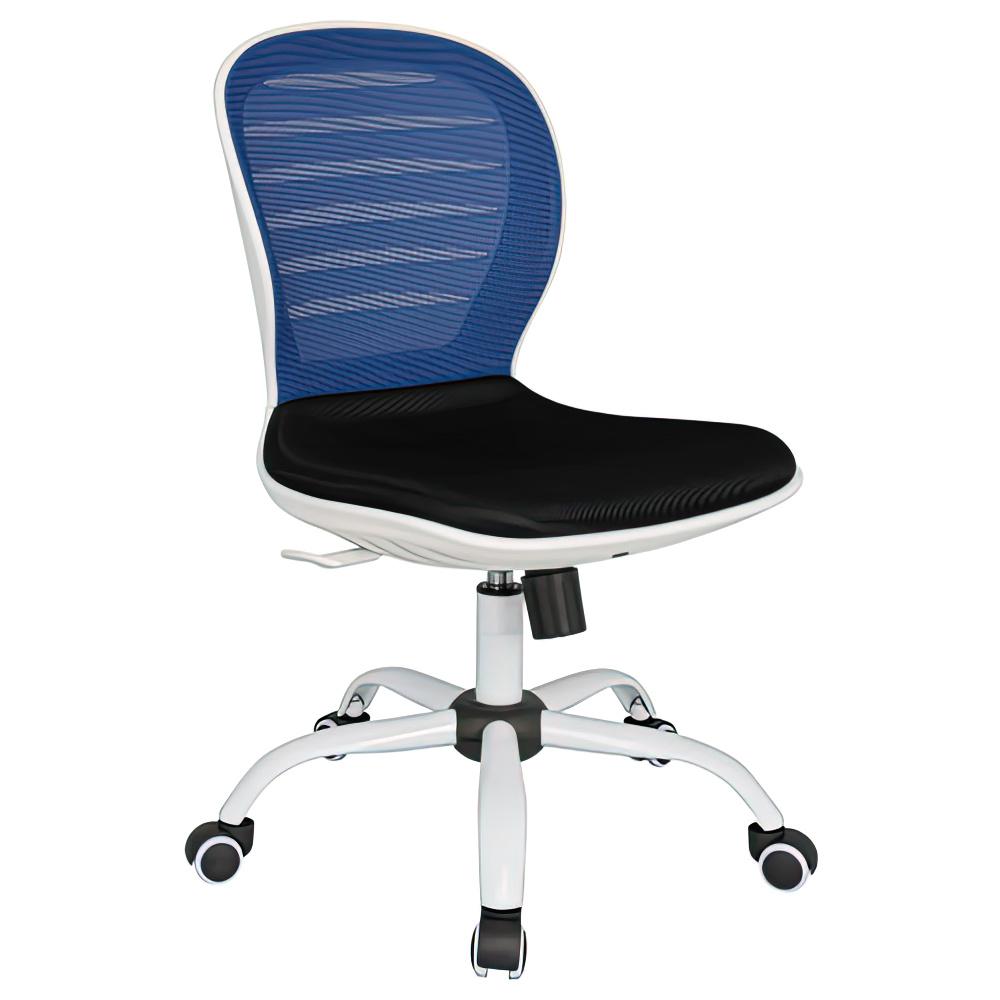 シフォン W480×D585×H850-950mm 背:ブルー×座:ブラック 肘無し メッシュチェア オフィスチェア 事務椅子 オフィス家具