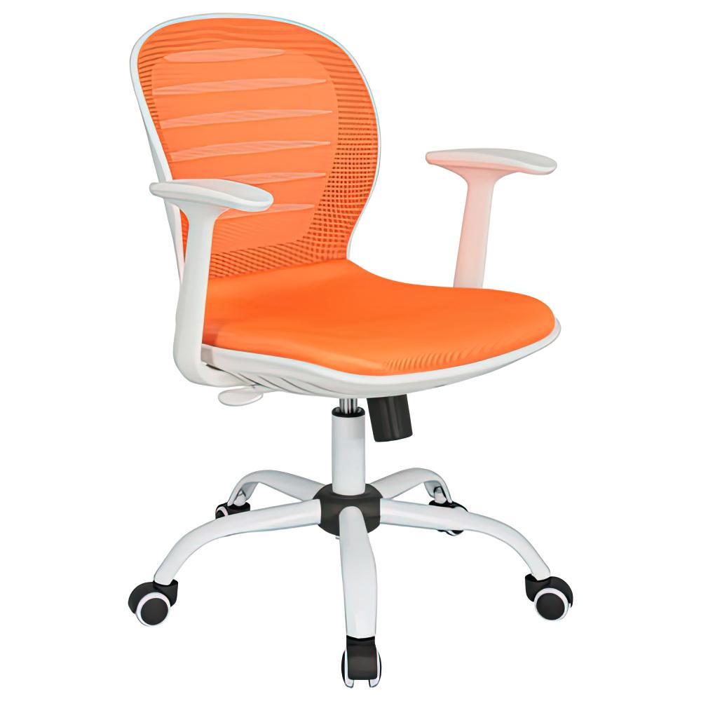 シフォン W610×D585×H850-950mm 背:オレンジ×座:オレンジ 肘付き メッシュチェア オフィスチェア 事務椅子 オフィス家具