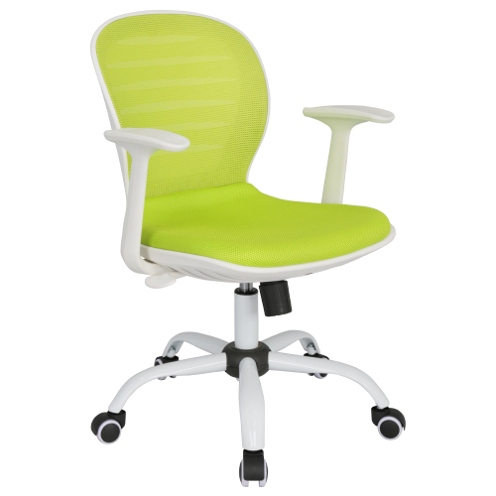シフォン W610×D585×H850-950mm 背:グリーン×座:グリーン 肘付き メッシュチェア オフィスチェア 事務椅子 オフィス家具