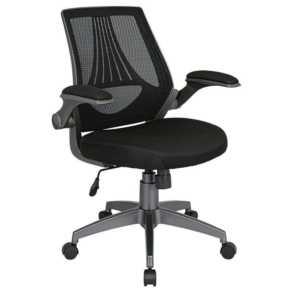 コバルト W660×D575×H920-1010mm ロータリーアームチェア 事務椅子 ブラック 可動式アームレスト メッシュチェア オフィス家具