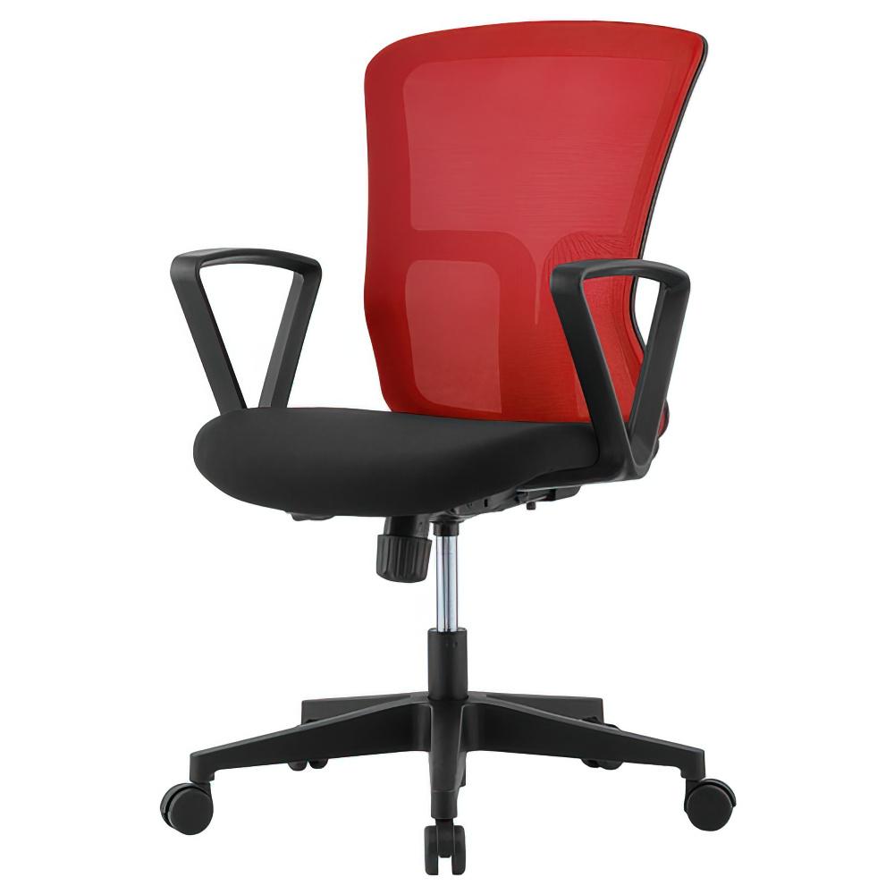 ニュードルチェ W490×D600×H880-970mm オフィスチェア 事務椅子 肘付き レッド デスクチェア OAチェア メッシュチェア オフィス家具