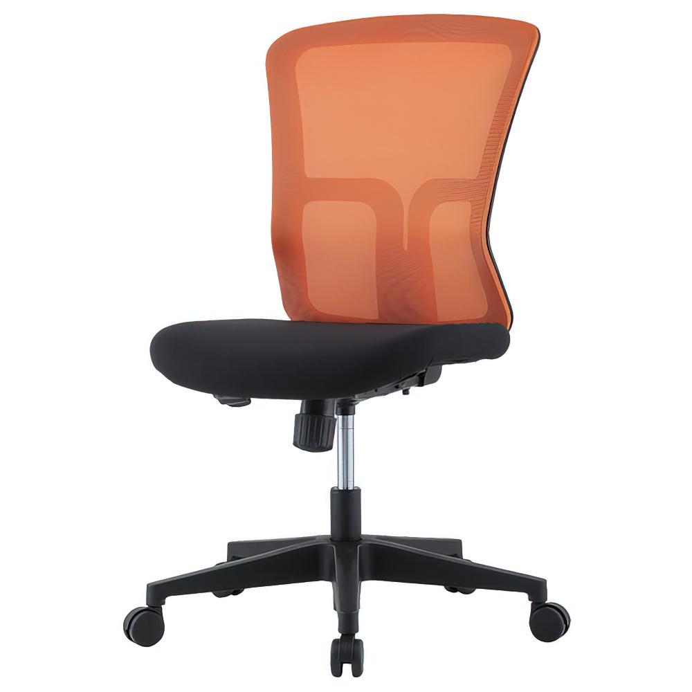 ニュードルチェ W490×D600×H880-970mm オフィスチェア 事務椅子 肘無し オレンジ デスクチェア OAチェア メッシュチェア オフィス家具