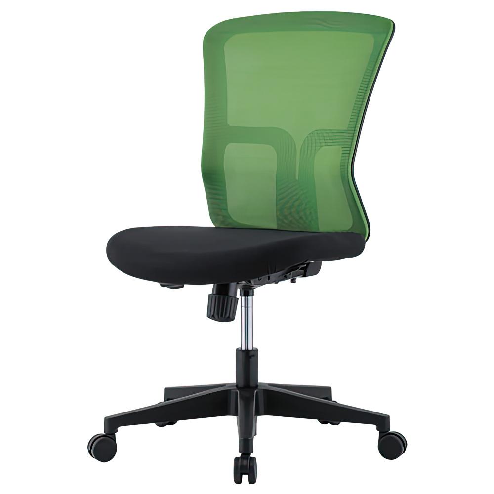 ニュードルチェ W490×D600×H880-970mm オフィスチェア 事務椅子 肘無し グリーン デスクチェア OAチェア メッシュチェア オフィス家具