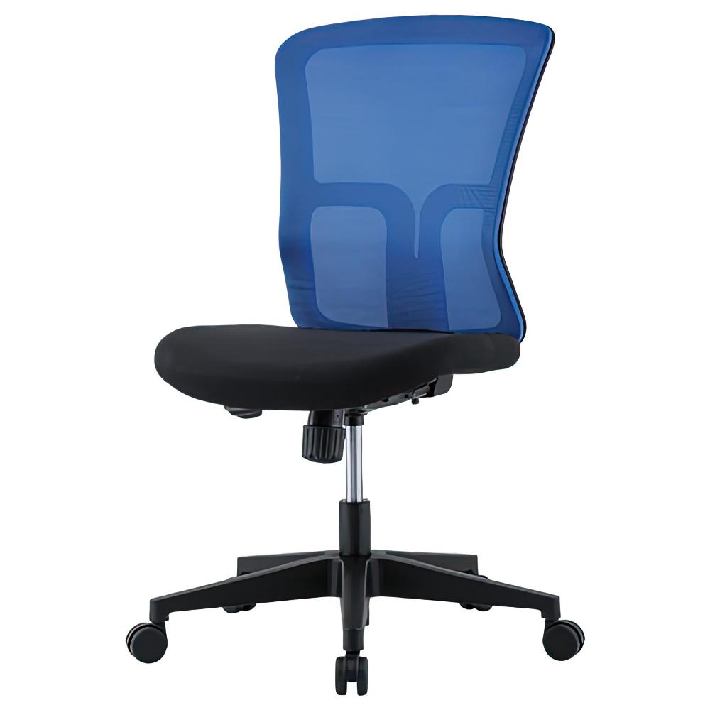 ニュードルチェ W490×D600×H880-970mm オフィスチェア 事務椅子 肘無し ブルー デスクチェア OAチェア メッシュチェア オフィス家具