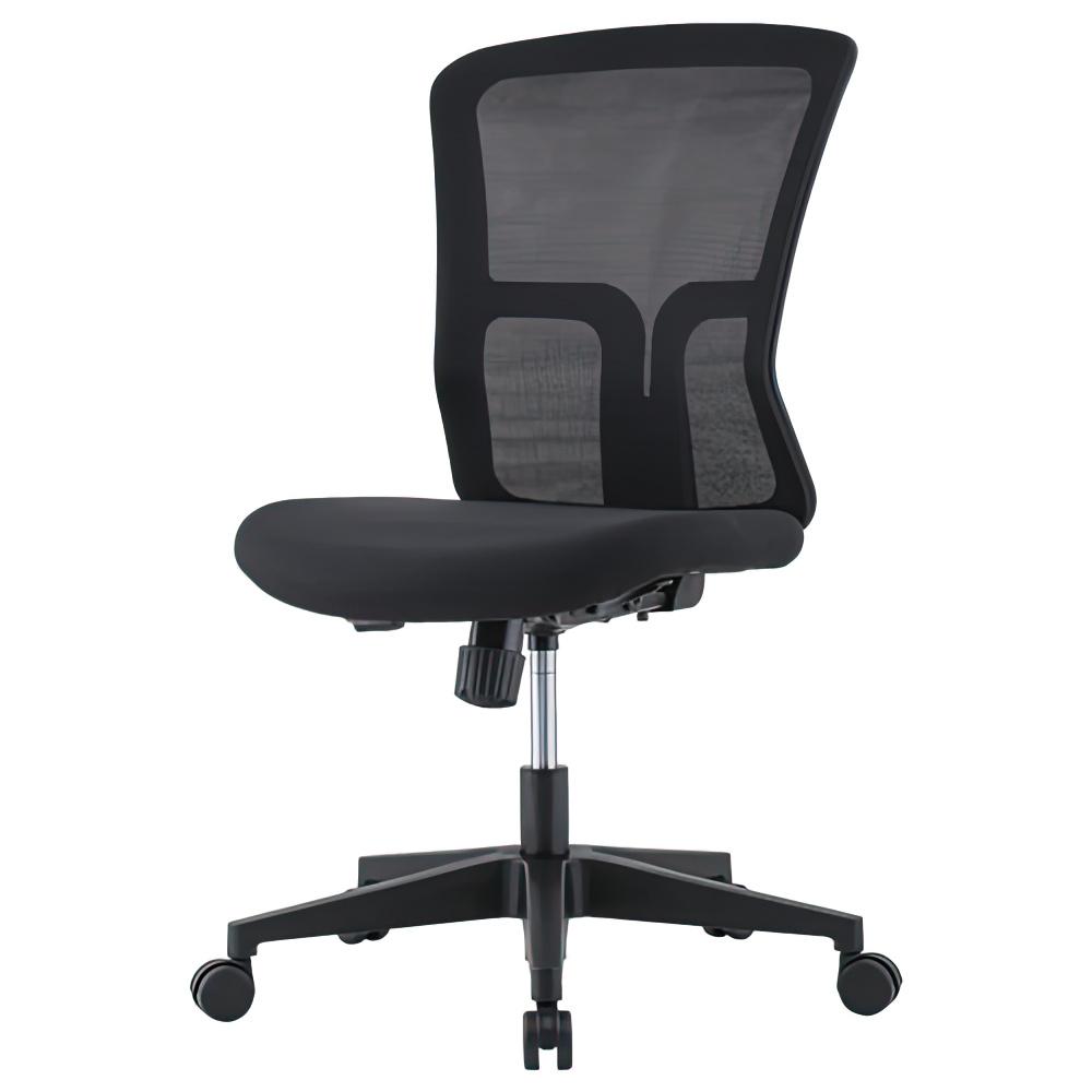 ニュードルチェ W490×D600×H880-970mm オフィスチェア 事務椅子 肘無し ブラック デスクチェア OAチェア メッシュチェア オフィス家具