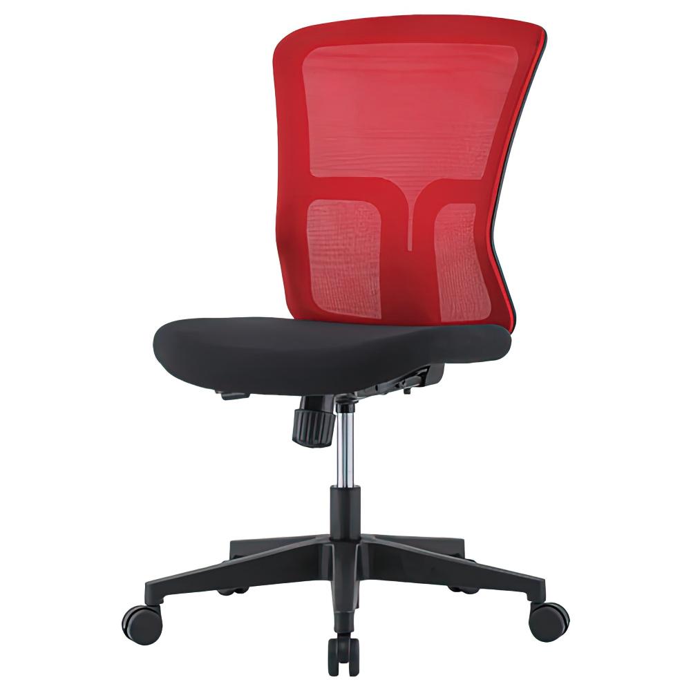 ニュードルチェ W490×D600×H880-970mm オフィスチェア 事務椅子 肘無し レッド デスクチェア OAチェア メッシュチェア オフィス家具
