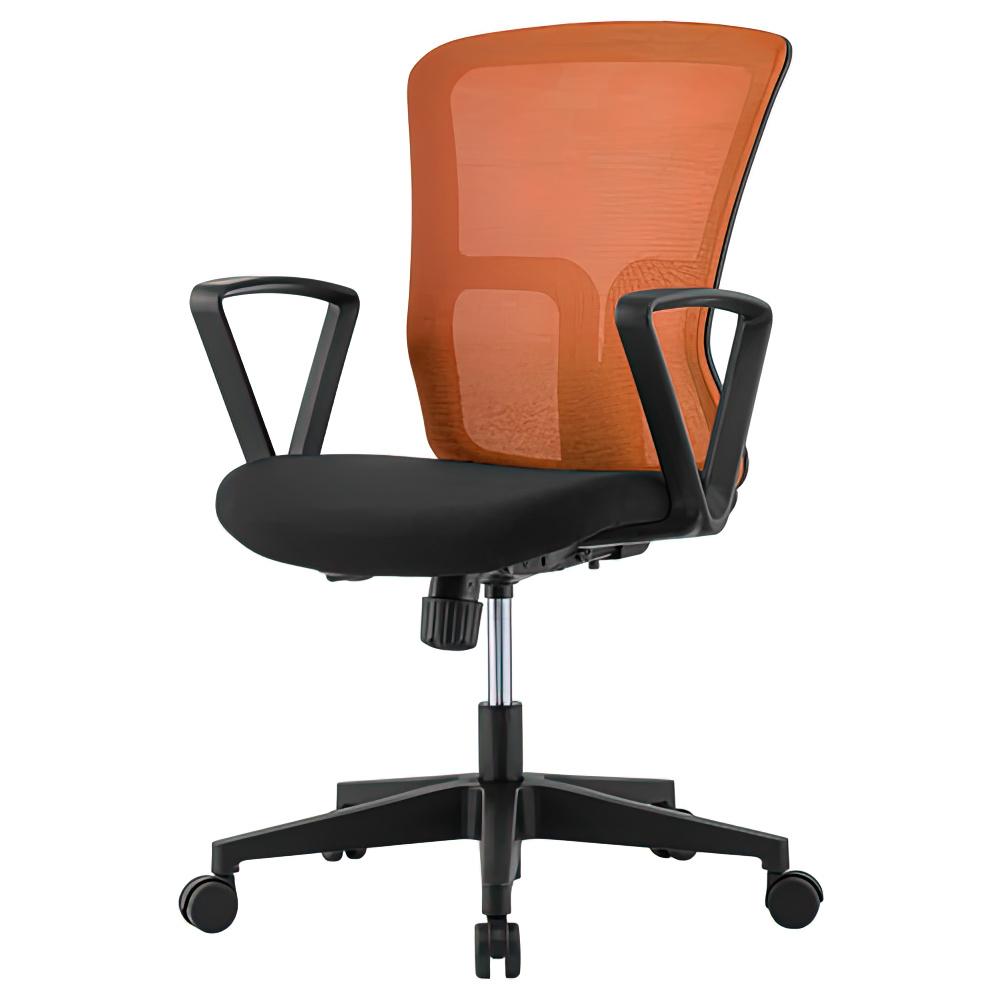 ニュードルチェ W490×D600×H880-970mm オフィスチェア 事務椅子 肘付き オレンジ デスクチェア OAチェア メッシュチェア オフィス家具