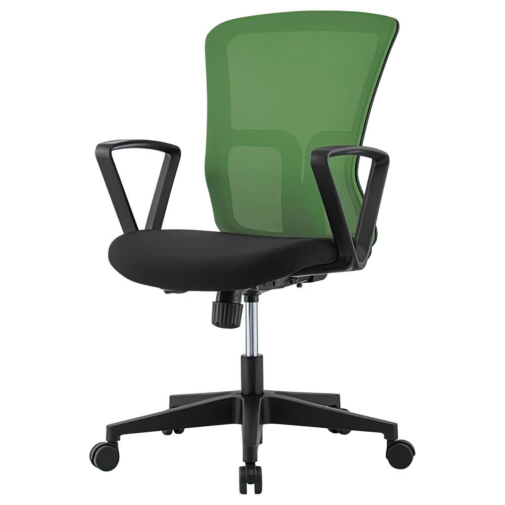 ニュードルチェ W490×D600×H880-970mm オフィスチェア 事務椅子 肘付き グリーン デスクチェア OAチェア メッシュチェア オフィス家具