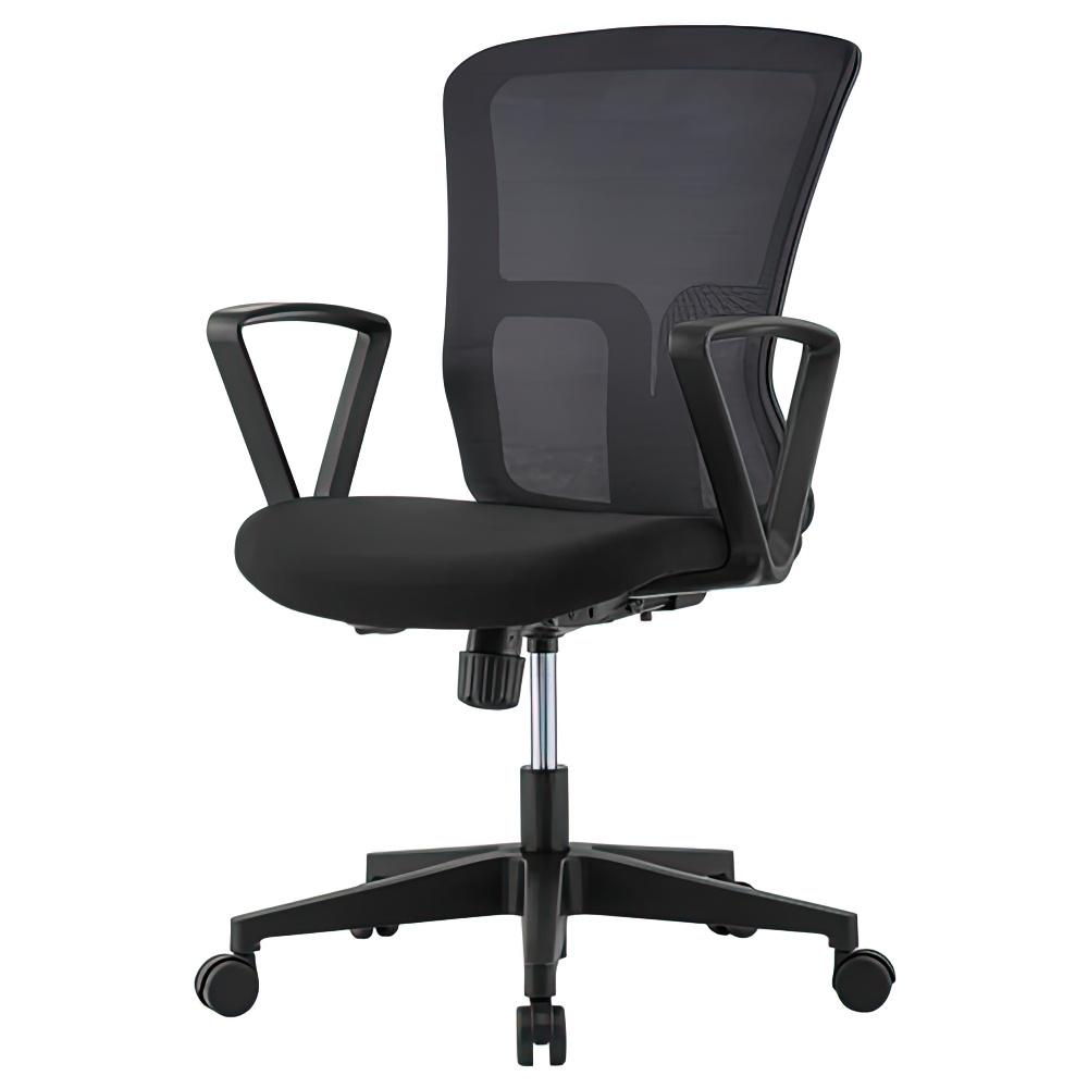 ニュードルチェ W490×D600×H880-970mm オフィスチェア 事務椅子 肘付き ブラック デスクチェア OAチェア メッシュチェア オフィス家具