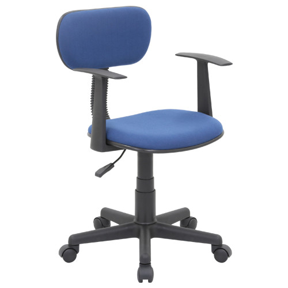 ニューエコノミーチェア W510×D505×H745-860mm オフィスチェア 事務椅子 肘付き ブルー デスクチェア OAチェア オフィス家具