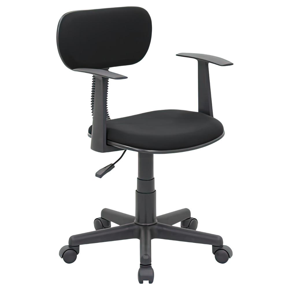 ニューエコノミーチェア W510×D505×H745-860mm オフィスチェア 事務椅子 肘付き ブラック デスクチェア OAチェア オフィス家具