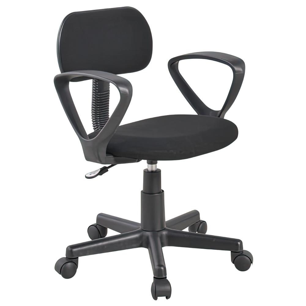 エコノミーチェア W525×D500×H750-850mm オフィスチェア 事務椅子 肘付き ブラック デスクチェア OAチェア オフィス家具 アウトレット