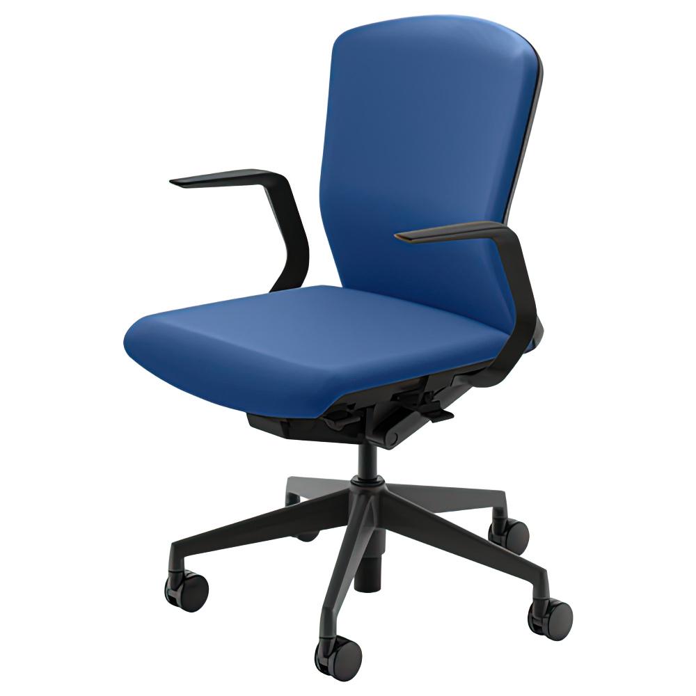 エルフィチェア 樹脂バックタイプ W647×D557-607×H890-980mm オフィスチェア 事務椅子 肘付き マリンブルー デスクチェア OAチェア 内田洋行 オフィス家具
