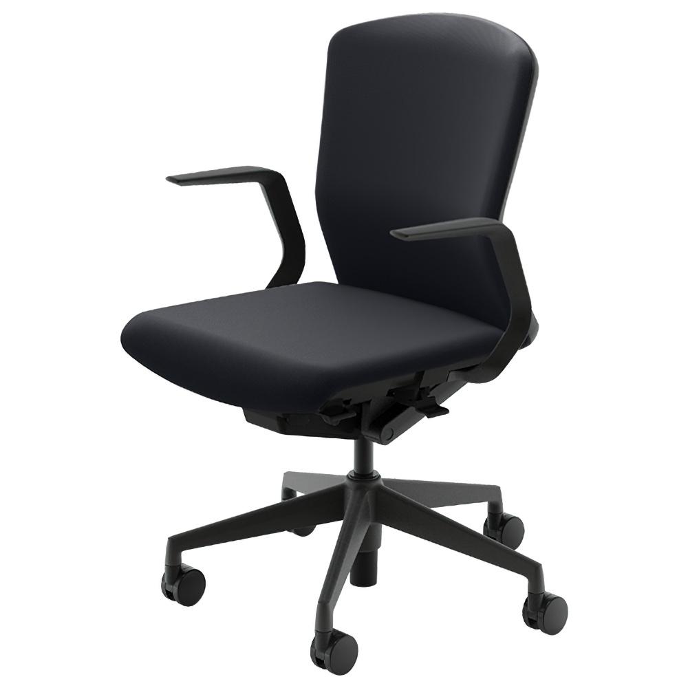 エルフィチェア 樹脂バックタイプ W647×D557-607×H890-980mm オフィスチェア 事務椅子 肘付き ジェットブラック デスクチェア OAチェア 内田洋行 オフィス家具