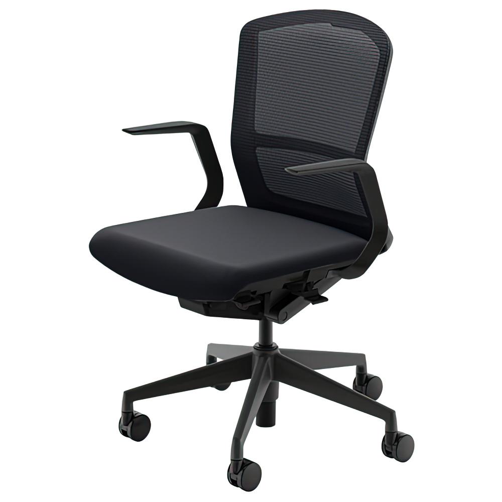 エルフィチェア メッシュタイプ W647×D557-607×H880-970mm オフィスチェア 事務椅子 肘付き ジェットブラック デスクチェア OAチェア 内田洋行 オフィス家具
